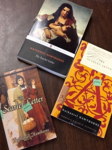 "Three copies of ""The Scarlet Letter"" on the shelf at Goodwill. All new; never opened!"