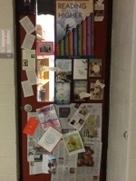 English teacher door...a wide rang of reading complete with motivational poster!