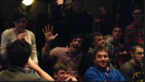Seniors at intermission watching Hamlet at Yale Rep