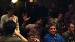 Seniors at intermission watching Hamlet at Yale Rep