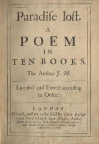 Originally published as 10 books, Milton expanded the epic poem to 12 books in later printings.