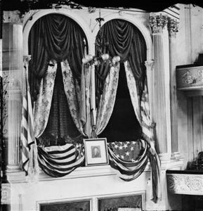 "This April 1865 photo provided by the Library of Congress shows President Abraham Lincoln\'s box at Ford\'s Theater, the site of his assassination. Under the headline ""Great National Calamity!"" the AP reported Lincoln's assassination, on April 15, 1865. (AP Photo/Library of Congress)"
