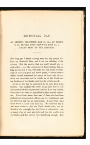 First page of Holmes's speech published in book format