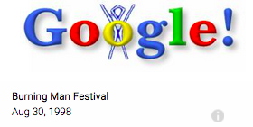 The first Google Doodle celebrating a vacation at the Burning Man Festival