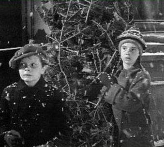 "Film still from the Christmas tree scene from the film ""A Tree Grows in Brooklyn"""